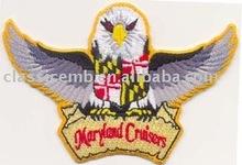 Form cut eagle embroidered emblem