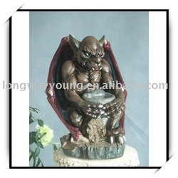 Cartoon devil resin sculpture - bat men with a bowl