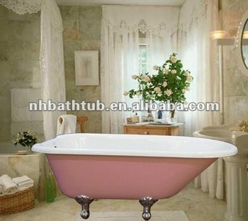 pink colored bathtub small roll top tub cast iron