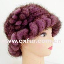 Cx-c-13d tricotés à la main violet vison bonnet de fourrure ~ animaux modèles de tricot chapeau