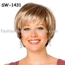 2013 popular high quality 100% best factory price silky straight kanekalon synthetic short blond wigs (SW-1431)