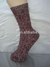 Double Stitching Knitted Wool Thick Ladies' Socks, Heavy 84N Warm Stripe Women Hosiery