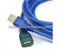 De la marca 2.0 braid escudo de papel azul usb macho a hembra cable de extensión anillo magnético de la computado