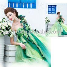 High-end Customized Empire Waist One-shoulder Ruffle Fairy Evening Dress Formal Evening Gowns 2015