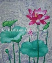 high gloss handmade beautiful lotus canvas flower oil painting