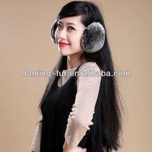 foldable rex rabbit fur earmuffs