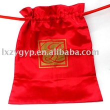 Small sizes package red polyester satin drawstring jewelry gift bag/pouch