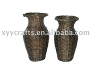 brown wicker vase for decoration