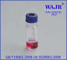 9mm Short-Cap Vials 2.0mL Clear w/White Graduated Marking Spot