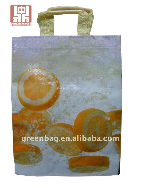 Cadeau de la porte de mariage toile fourre - tout bambou / bois poignée recycler pp tissé sac