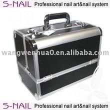 aluminum black beauty cosmetic case for nail art