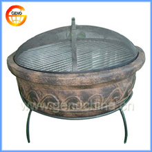 Outdoor Round Terracotta Fire Pit with Chimney, BBQ Grill for Garden Decoration