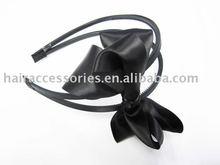 Black ribbon bow double strand Hair Band