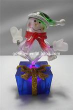 LED light acrylic round snowman figurine kid toys