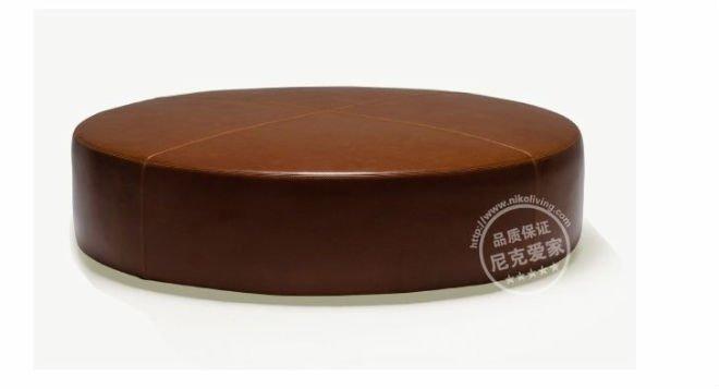 Brown Genuine Leather Round Ottoman