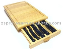 Rubber Wood Cheese Board with Knife and Rectangle Shape for Cheese Cutting Chopping and Table and Dining