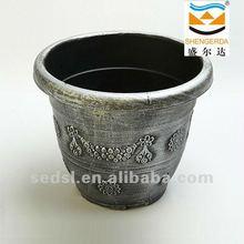 hand scrubber silver plastic pot, garden plastic plants