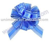 Woven sheer organza ribbon pull bow,pom pom bow