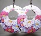 2013 Fashion handmade peony printing annular wood earrings