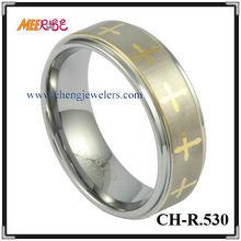 laser gold cross stepped edge tungsten firefighter wedding celtic rings