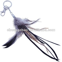 Fashion cock feather Key chain for hot sales from crafts factory