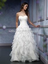Surmount Design Fashion Beautiful Designer Off Shoulder Ruffle Organza Wedding Dress