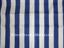Navy blue and white 100% cotton stripe fabric