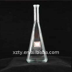 clear 750ml triangulaire en forme de pyramide whisky bouteille en verre