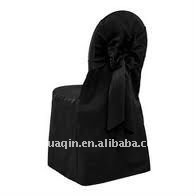 Lamour satin chair cover with sash on back and fashion chair cover