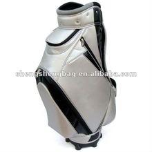 silver PU leather golf cart bag