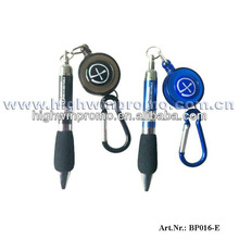 Retractable Carabiner Ball Pen With A Cord Reel