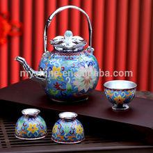 Chinese Vintage Design Enamel Pot and Cups Silver Tea Set Service
