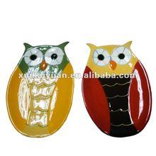 Halloween ceramic owl shaped plates wholesale