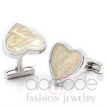 Hot sell fashion brass heart shaped cuff link