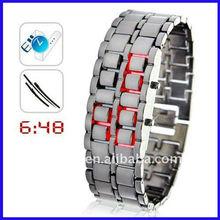 Japanese inspired red iron samurai led watch