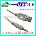 Branco cabo usb usb am para 3.5 mm cabo dc