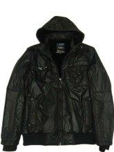mens black nylon jacket with detachable hood
