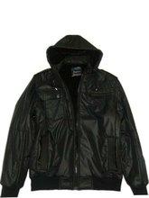 mens black hooded nylon jacket