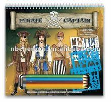 OEM FASHION pirate design sketch portfolio kit with pens