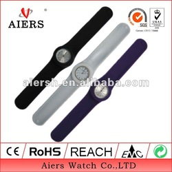 Silicone slap wristband watch