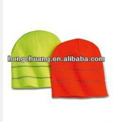 fluorescence brightness yellow and red knit beanies