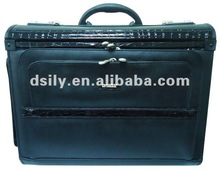 Black bonded leather flight pilot case