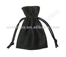 Smoky Gray Suede Drawstring Bag