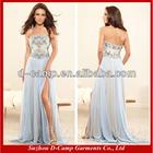OC-065 Flowy 2014 sexy side slit prom dresses strapless online prom dress shopping