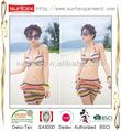 micro poliéster senhora sexy moda listras tingir o fio praia swimwear vestir biquínis bsci fabrico