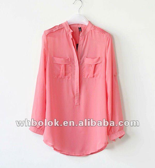 moda mujer blusa de bolsillos en el pecho de gasa blusa de manga larga