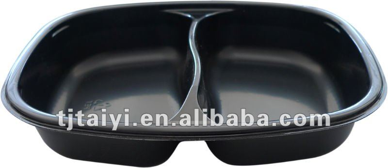 2 compartment plastic food tray