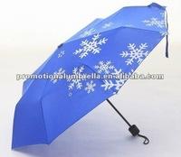 Fashion design Snow screen printing 3 section snow umbrella