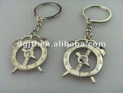 Fashion metal clock keychain