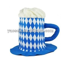new style deluxe Bavarian beer mug felt hat with Bavarian checked pattern